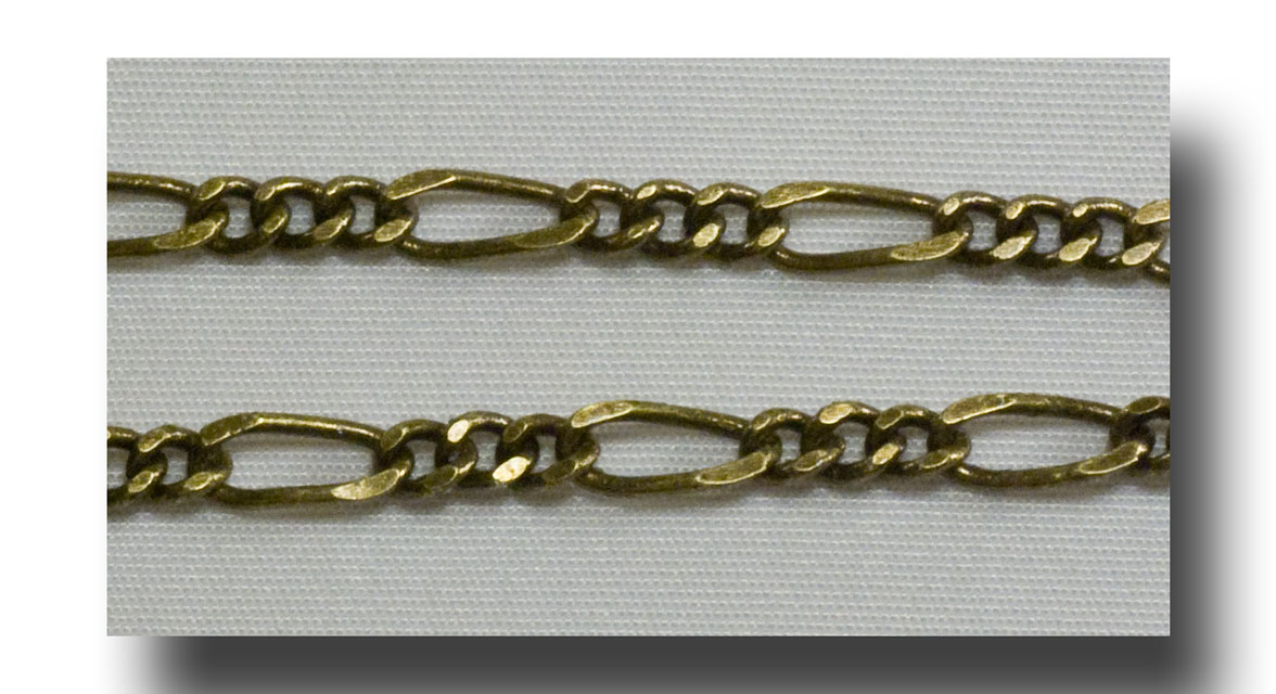 Chain - Figaro - Antique Brass - BULK - #195B - Click Image to Close