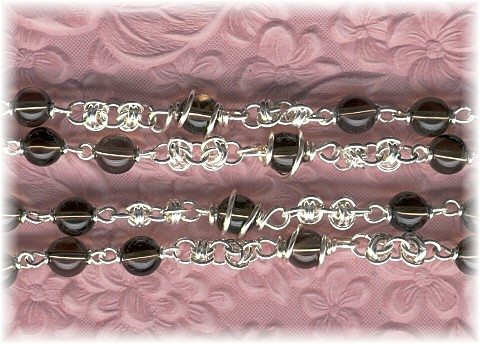 Barrel Weave chain on smokey quartz beads