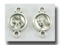 Divine Mercy/Our Lady connector - Antique silver - 155