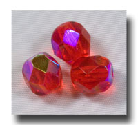 Facet Glass beads, 6mm - Ruby AB (July) - 634