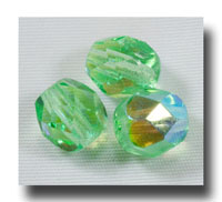 Facet Glass beads, 6mm - Peridot AB (Aug.) - 635
