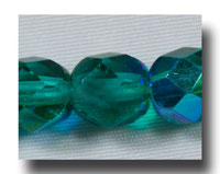 Facet Glass beads, 6mm - Emerald AB (May) - 636