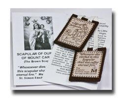 Washable Brown Scapular with white braid