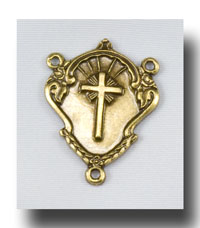 Cross, Heart, Crown Centre - Antique Brass - ABR2220
