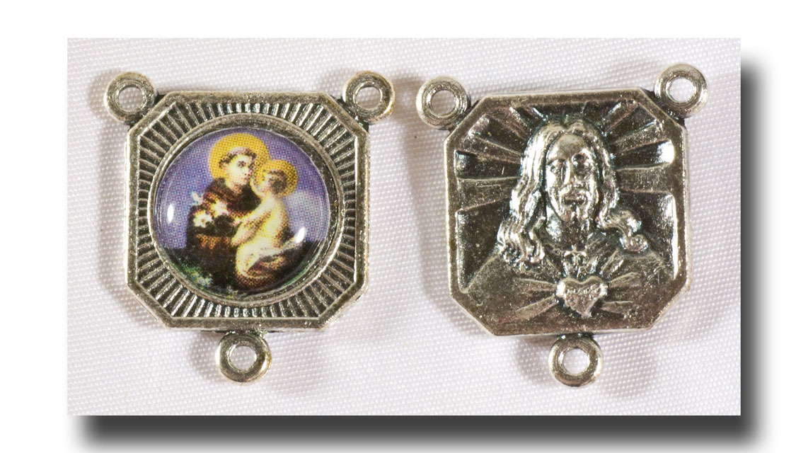 St. Anthony centre - Colour picture/Antique silver - 228r - Click Image to Close