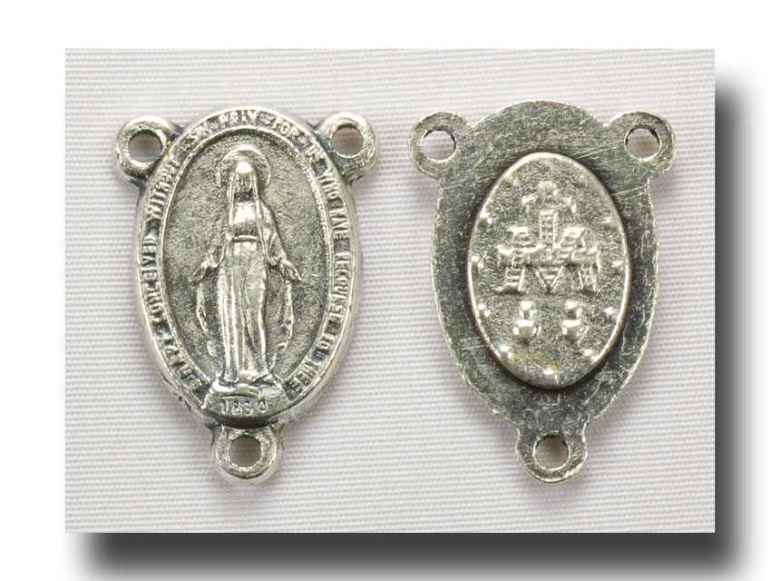 Oval Miraculous medal - Antique silver - 229 - Click Image to Close