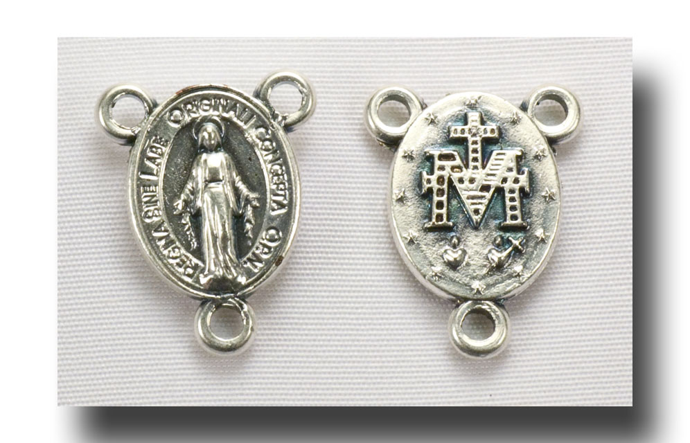 Tiny Miraculous medal centre - Antique silver - 237 - Click Image to Close