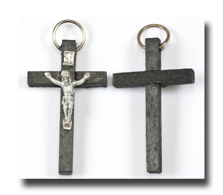 Wooden Crucifix - Black and antique silver - 349 - Click Image to Close