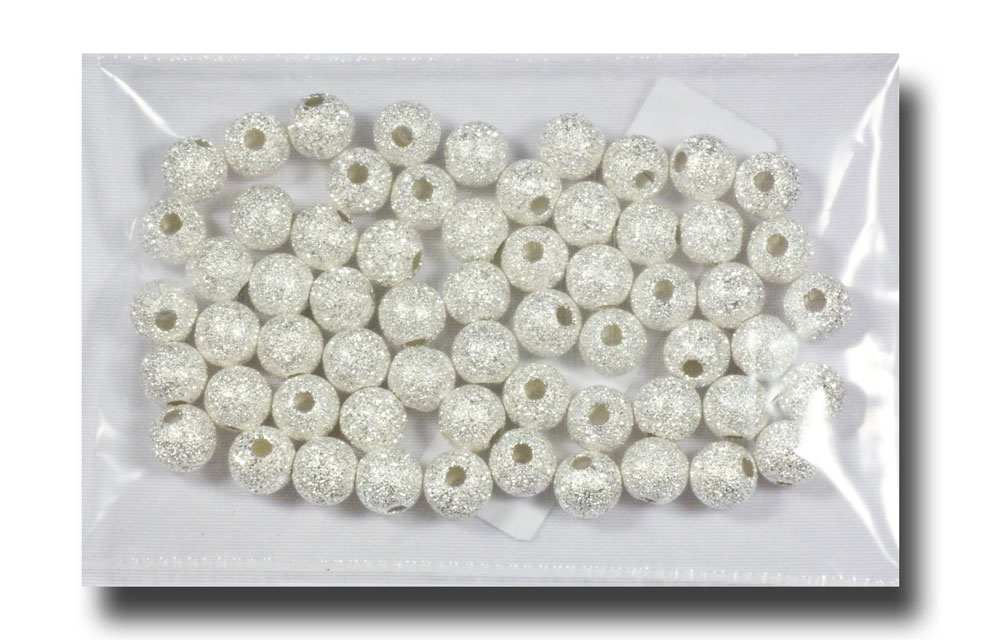 Metal beads - Stardust round, 6mm Silverplate - 541 - Click Image to Close