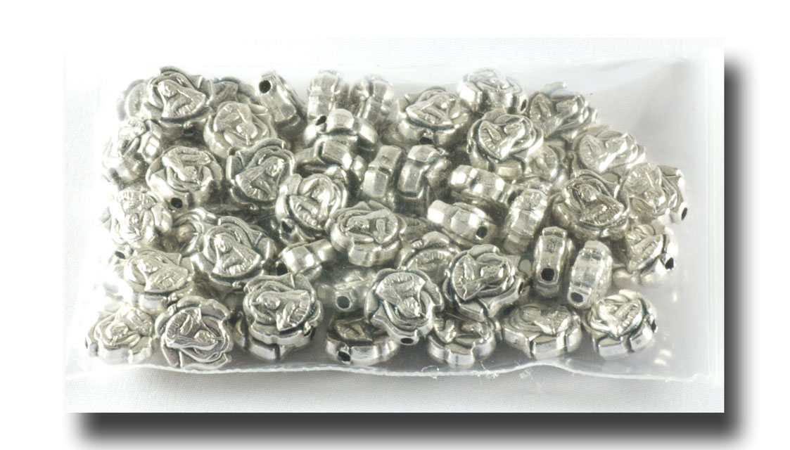Metal beads - St. Therese - Antique Silverplate - 551 - Click Image to Close