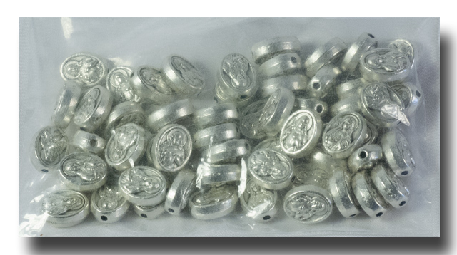 Metal beads - Sacred and Immaculate Hearts, 10mm - 552 - Click Image to Close