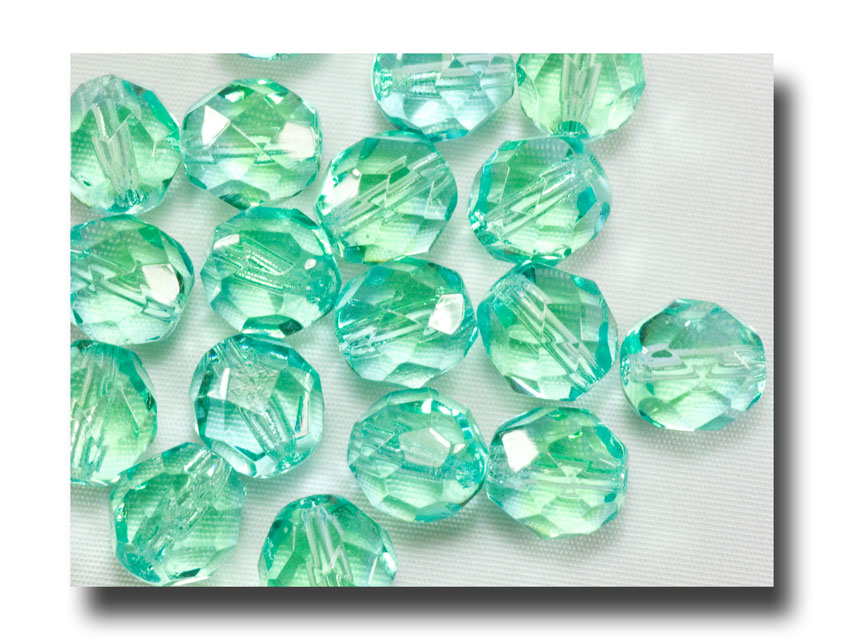 Facet Glass Beads, 8mm - Aqua/Green - 6016 - Click Image to Close