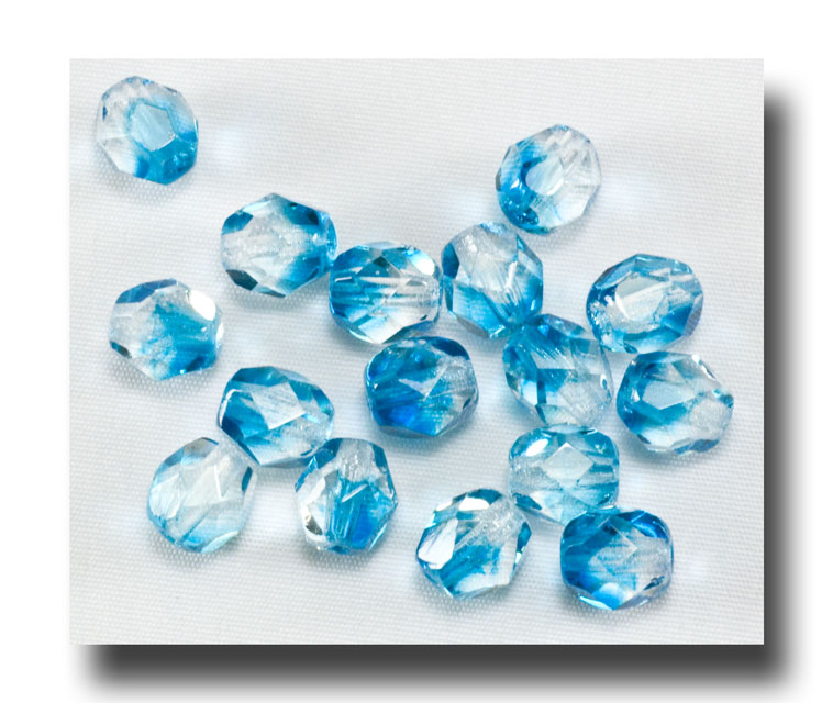 Facet Glass Beads, 6mm 2-tone - Crystal/Aqua - 6062 - Click Image to Close