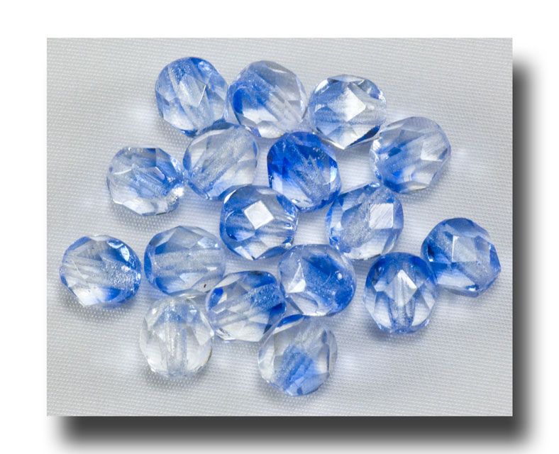 Facet Glass Beads, 6mm 2-tone - Crystal/Sapphire - 6067 - Click Image to Close