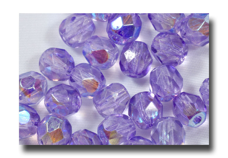 Facet Glass Beads, 6mm - Lt. Amethyst - 629 - Click Image to Close
