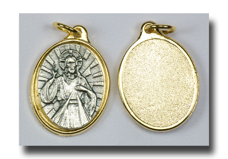Medal - Divine Mercy - Antique silver/Gilt backed - 7705 - Click Image to Close