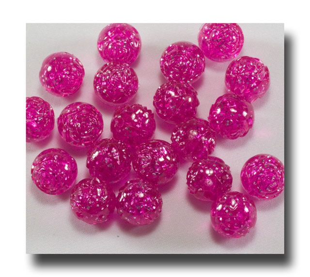 Rose Beads, 9mm Pink Sparkle - Rose24 - Click Image to Close